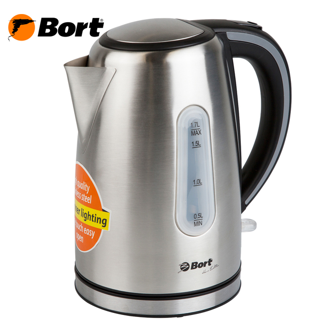 Чайник электрический Bort BWK-2117M (корпус из нержавеющей стали, объем 1.7 Л., 2200 Вт, подсветка, поворачивающийся на 360' база)