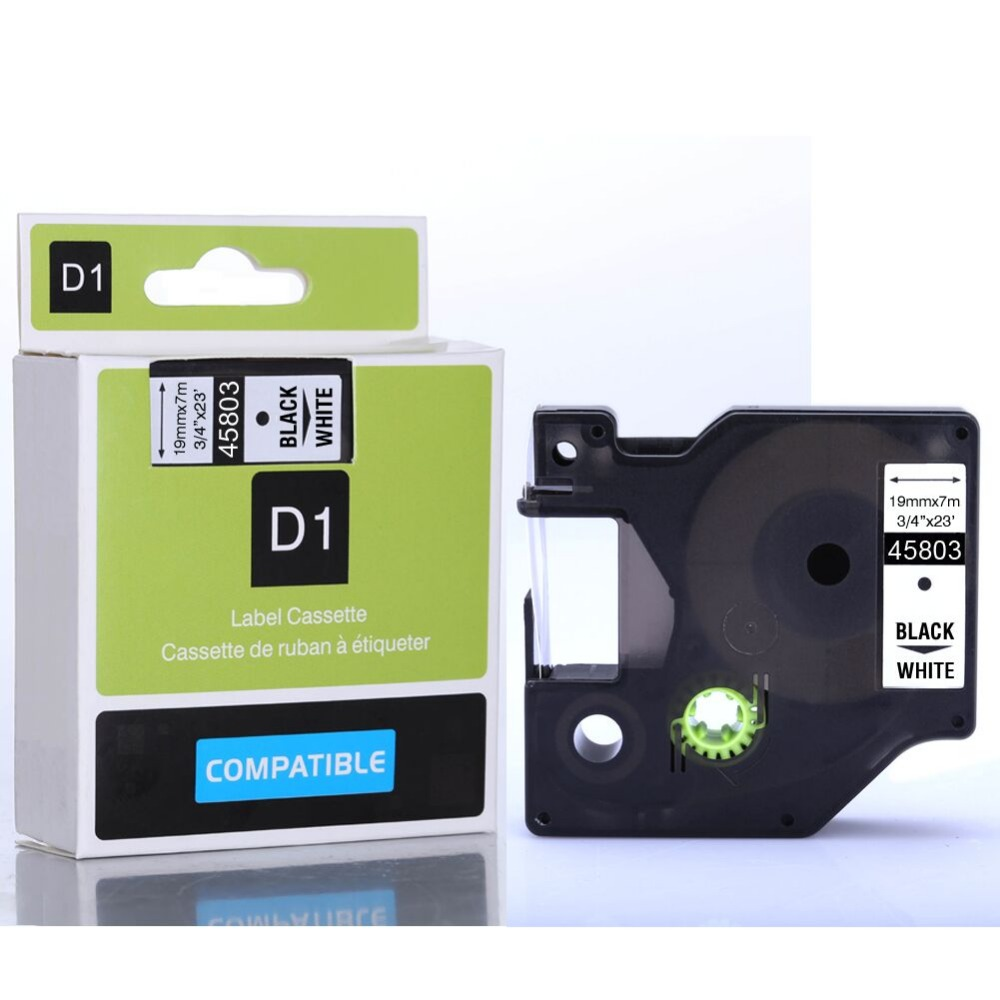 Free shipping DYMO 45803 Compatible D1 label tape 19mm black on white dymo label machine tape
