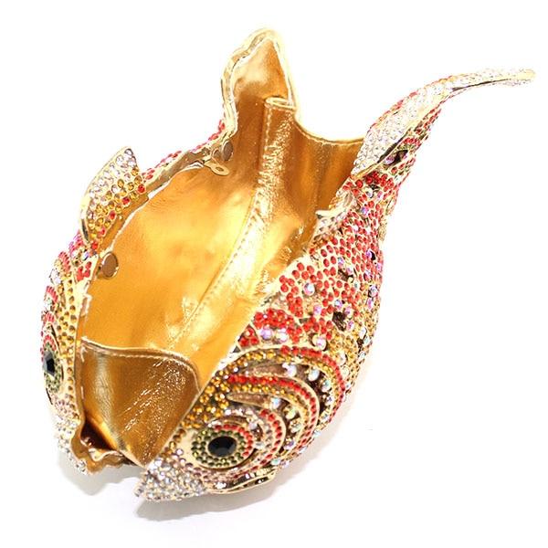 Fantaisie or poisson cristal mode femmes mariage sac à main fête embrayage sac de soirée (8662A-G) - 4