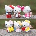 6 unids/set 2.5-3.5 cm mini hello kitty figuras de juguetes encantadores hello kitty pvc figuras de acción juguetes juguetes de los niños, Anime Brinquedos