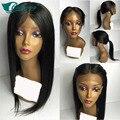 De calidad superior brasileño peluca llena del cordón con el pelo del bebé de seda larga recta sin cola peluca llena del cordón Para Las Mujeres Negras con color natural