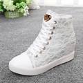 Fashion 2016 Woman Lace Casual Elevator Shoes Hidden Wedges Thick Soled Hight Increasing Creepers 6cm High Heels Zapatos Mujer
