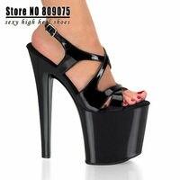 Классический черный плюс размер 20 см супер высокой пятки платформы сандалии 7-дюймовый сексуальная клубной танцевальной обувь Свадьба Обувь