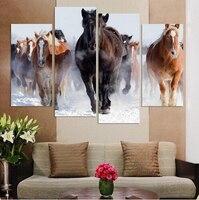 Unframed 4 Pcs High Quality Cheap Art Pictures Running Horse Large HD Modern Home Wall Decor