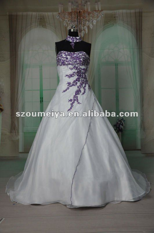 Free Shipping Oumeiya Orw215 Organza A Line Magazine Style Purple And White Wedding Dress 2017 In Dresses From Weddings Events On Aliexpress