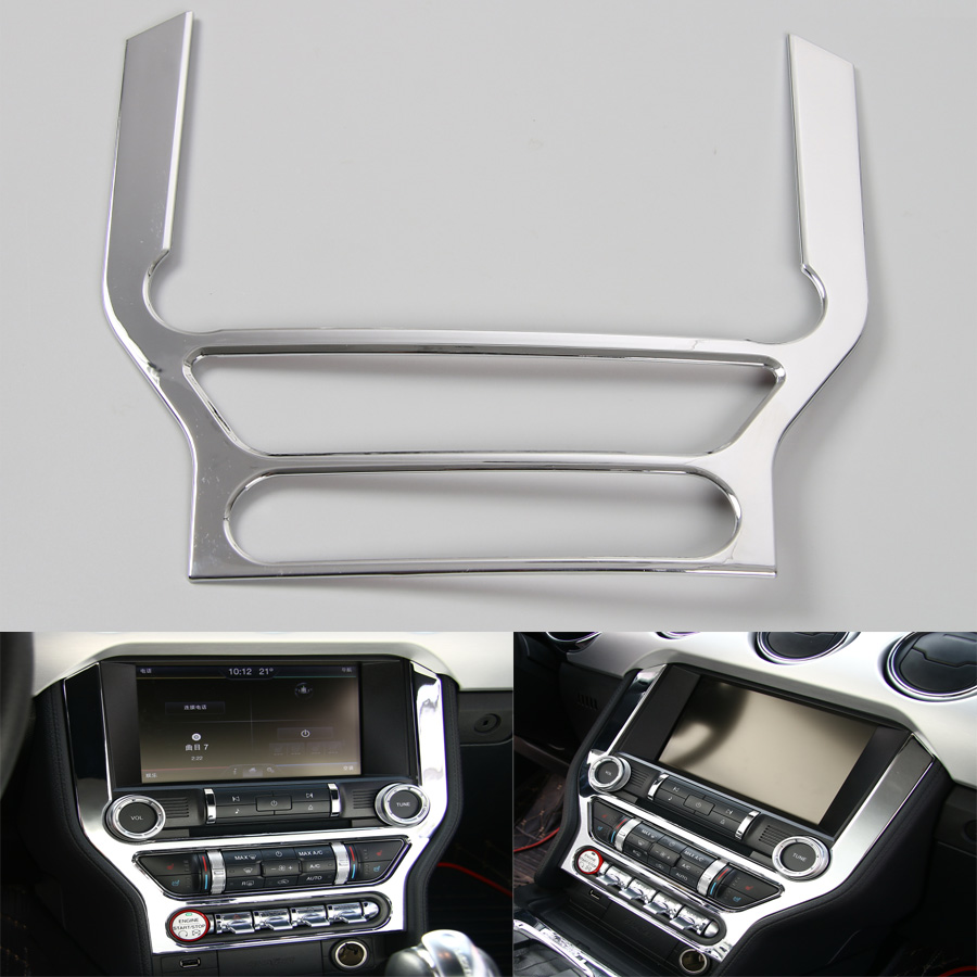 1Pc Auto Car Console DashBoard GPS Navigation Frame Panel Cover Trim Styling Fit For Ford Mustang 2015 2016 ABS Accessories цена