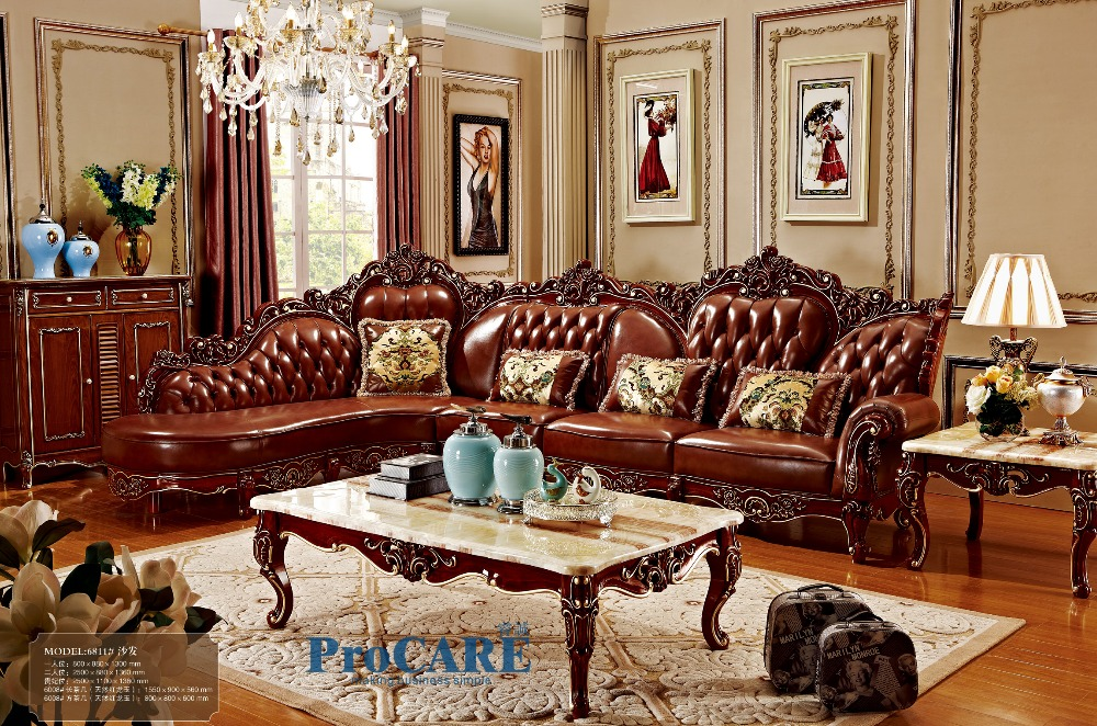 Red Solid Wood Genuine Leather Corner Sofa Set L Shape Living Room Furniture With Marble Surfaces Coffee Table 6811