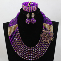 Splendid Purple Gold African Beads Jewelry Set for Wedding Nigerian Indian Bridal Women Jewelry Set Free Shipping WD079