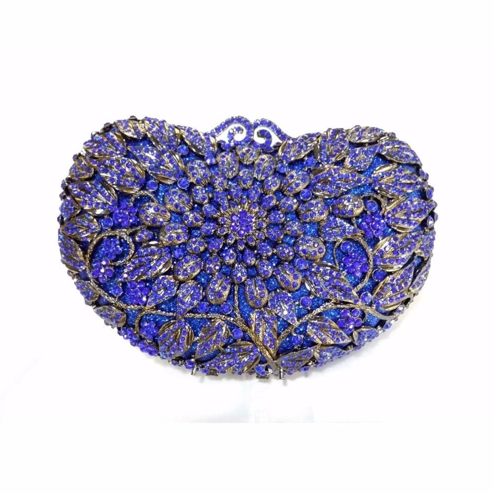 ФОТО 8359BL Blue Crystal Floral flower Wedding Bridal Party Night hollow Metal Evening purse clutch bag handbag box case