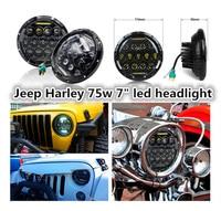 1PCS Round 7inch 75W LED Headlight 5800LM Hi/Low Beam Head Light lamp with DRL for wrangler TJ LJ JK CJ 7 CJ 8 Scrambler Harley