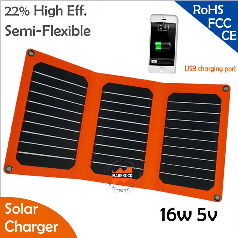 Outdoor Use 16W 5V/18V Foldable Sunpower Solar Panel with USB Port for Charging Mobile Phone, Laptop, Tablet under the sun