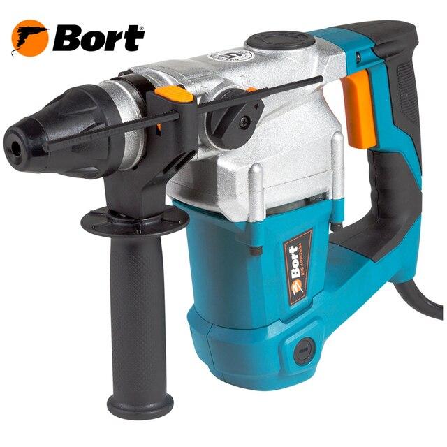 Перфоратор электрический BORT BHD-1000-TURBO (3 режима работы, мощный двигатель,энергия удара 3,5 Дж, сверление до 26 мм в бетоне, боковая рукоятка, глубиномер, кейс)