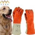 Engrossar Couro Anti-mordida luvas tático treinamento de animais para o gato do cão Treinamento da mordida de cobra anti-scratch protetor de Alimentação glov