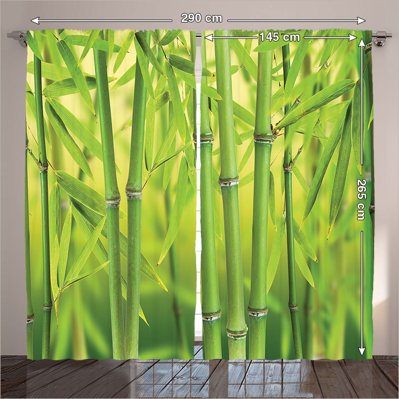 Jungle Bedroom Living Room Curtains Bamboo Sprout Stem Tropical Rain Forest  Wildlife Asian Zen Green 2 Panels Set 145*265 Sm In Curtains From Home U0026  Garden ...