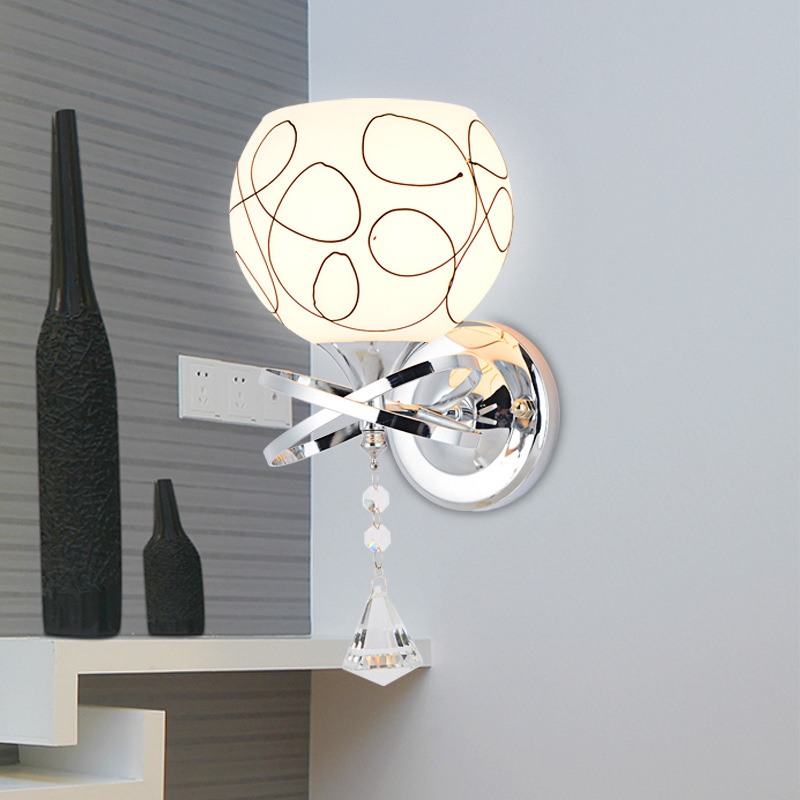 Modern Style Bedside Wall Lamp Bedroom Stair Lamp Crystal Wall Lights E27 Wall Lights Glass wall lamp Led Lamp For Bedroom Decor led crystal wall sconce indoor photography lighting led lamp home modern modern style bedside wall lamp bedroom stair wall lamp