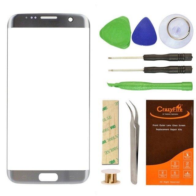 Высокое Качество Переднее Стекло Объектива Экран Замена Крышки Для Samsung Galaxy S7 Edge G9350 Сенсорный Экран Ремонт Наборы Инструментов Стикер
