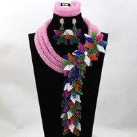 2017 Jewelry Set Beaded Decoration Flowers Bohemia Beaded Temperament Necklace Pink Jewelry Set Free shipping WA951