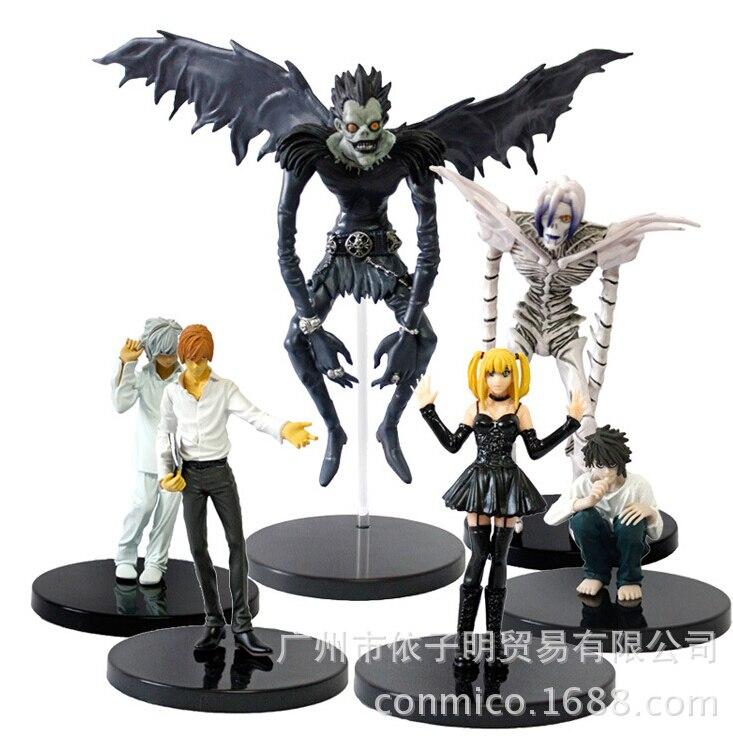 6pcs/set PVC Big Size Assembly Anime <font><b>Death</b></font> <font><b>Note</b></font> Action <font><b>Figure</b></font> Light Yagami <font><b>Ryuk</b></font> <font><b>Model</b></font> Toy free shipping