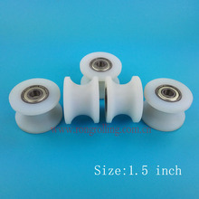 "1.5 inch sliding nylon wheel groove ""U"" with 2PCS 608ZZ bearing bore 8mm or 6mm"