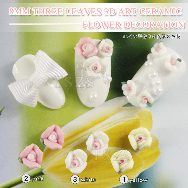50pcs /lot New 3D 8mm Ceramic Flower Shaped For Acrylic Nails