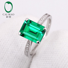 1.92ct  Emerald  & 0.17ct Diamond Engagement Ring Jewelry 14k White Gold Ring free shipping