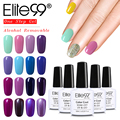 Elite99 10pcs One Step Nail Gel Polish Lacquer Alcohol Remove 3 in 1 Gel Polish No Need Base Top Coat Manicure Varnish