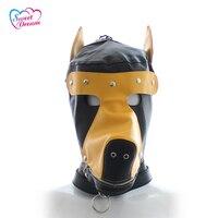Forma de Perro de Cuero negro Máscaras/Campanas de Venta De Herramientas de Accesorios de juego de Rol de Juegos Para Adultos Del Sexo Del Sexo Juguetes Sexuales Para pareja DW-450