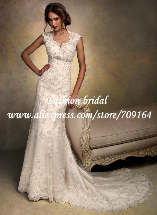 Vintage Cap Sleeves Champagne Wedding Dress Lace Convertible Ball ...