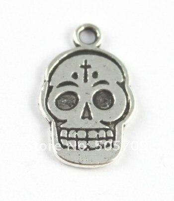 270 шт. тибетского серебра череп головы Подвески A15762