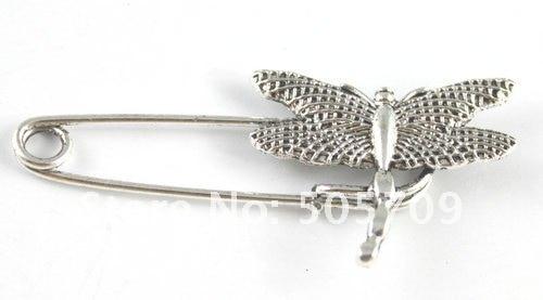 60 шт. тибетская Серебряная стрекоза брошь с английской булавкой A15547