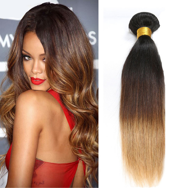 Full Shine Three Tone Ombre 1b 4 27 Brazilian Human Hair Weave Sew
