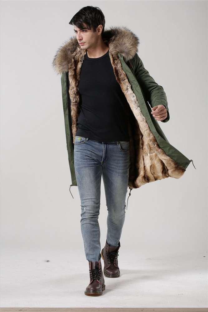 Vert mode unisexe style manteaux d'hiver avec la fourrure des animaux réels à capuche haute qualité vestes
