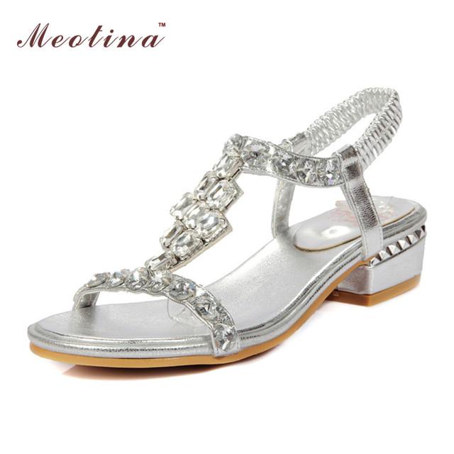 Meotina meados dos saltos das sandálias das mulheres do dedo do pé aberto strass sandálias sapatos mulheres festa de casamento sapatos de noiva sandálias de luxo deus tamanho 34-43