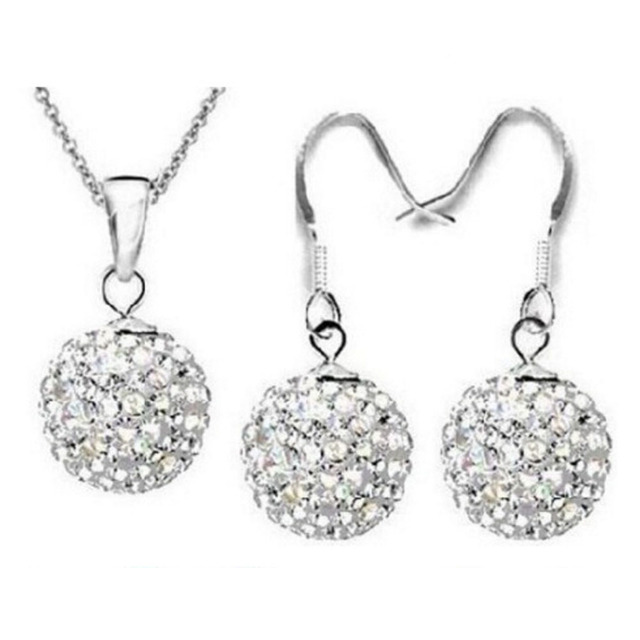 Charming Jewelry Set White Crystal Ball