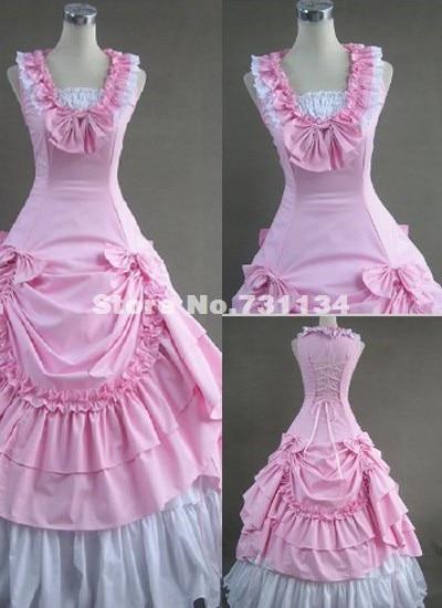 Розовый хлопок викторианской Southern Belle викторианской бальное платье воссоздание Театр костюма