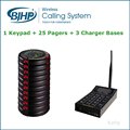 High Quality Coaster Pager Restaurant Buzzer Call System (1 Keypad + 25 Pagers + 3 Charger Bases)