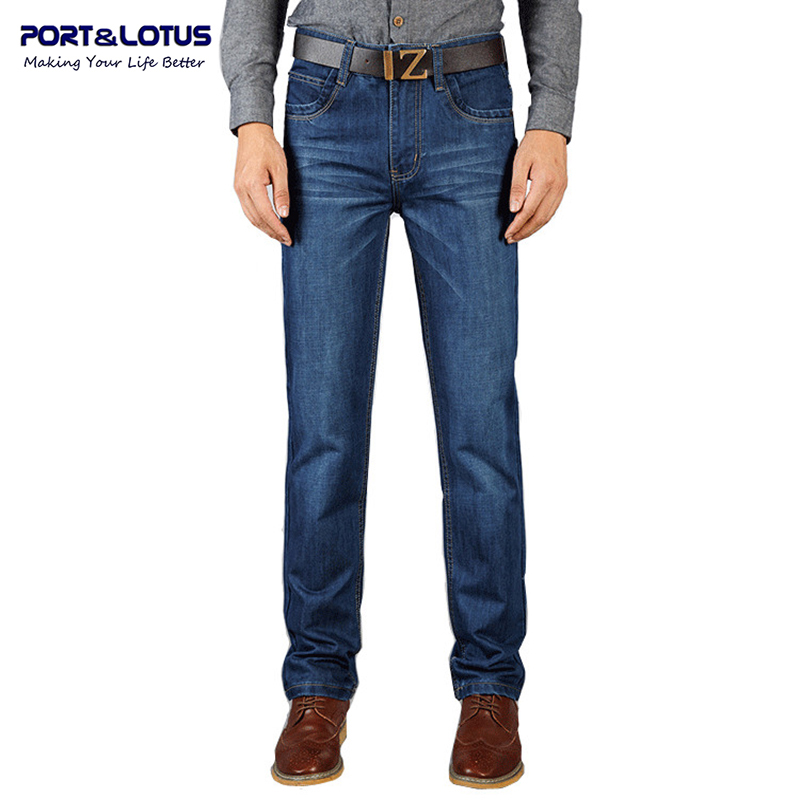 Port Lotus Fashion Business Jeans New Arrival With Zipper Fly Solid Color Straight Pants Slim Fit