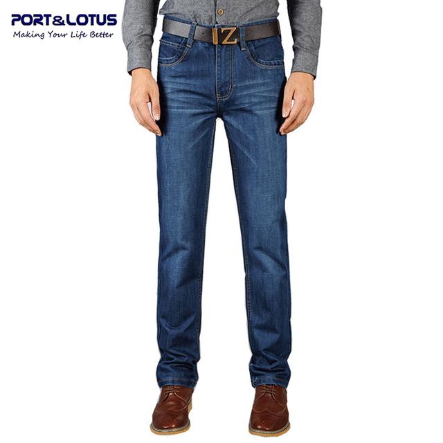 Puerto y la moda de loto Jeans negocios recién llegado con cierre con cremallera Color sólido pantalones Slim Fit hombres Jeans 030 venta al por mayor