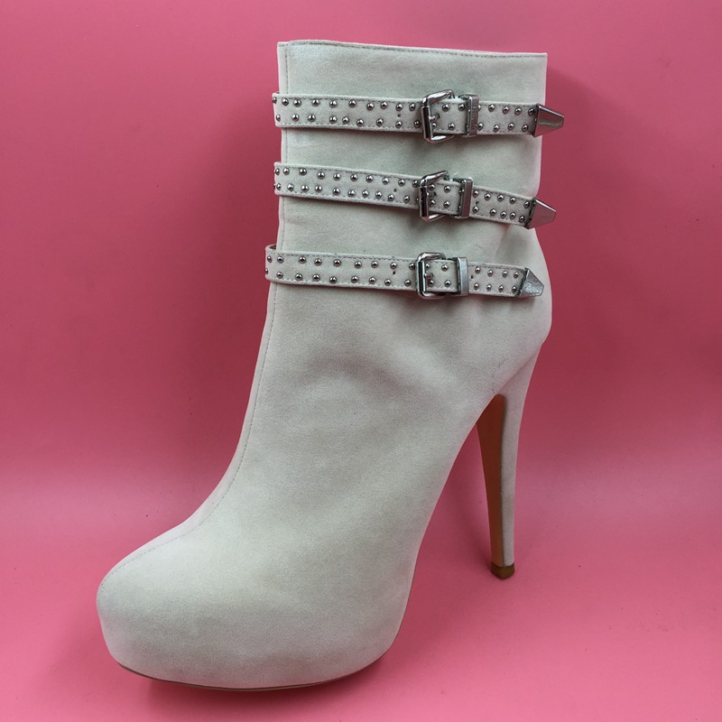 <font><b>Nude</b></font> Winter Ankle Women Boots High Heels Ladies Boots Custom <font><b>Size</b></font> <font><b>13</b></font> Real Photos Short Boots for Women 2017 New Real Image