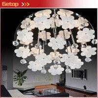 ZX Modern Circular K9 Crystal Ball Glass Flowers G4 LED Ceiling Lamp Sittingroom Bedroom Restaurant Lustre