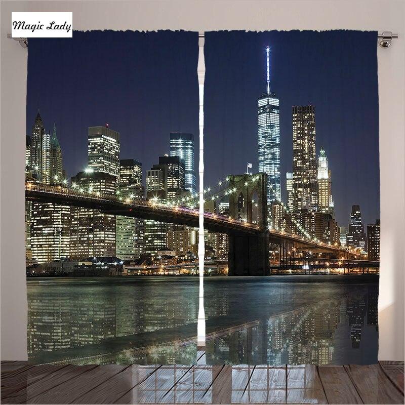 The Living Room Music Brooklyn: Curtains New York Print Living Room Bedroom Skyline