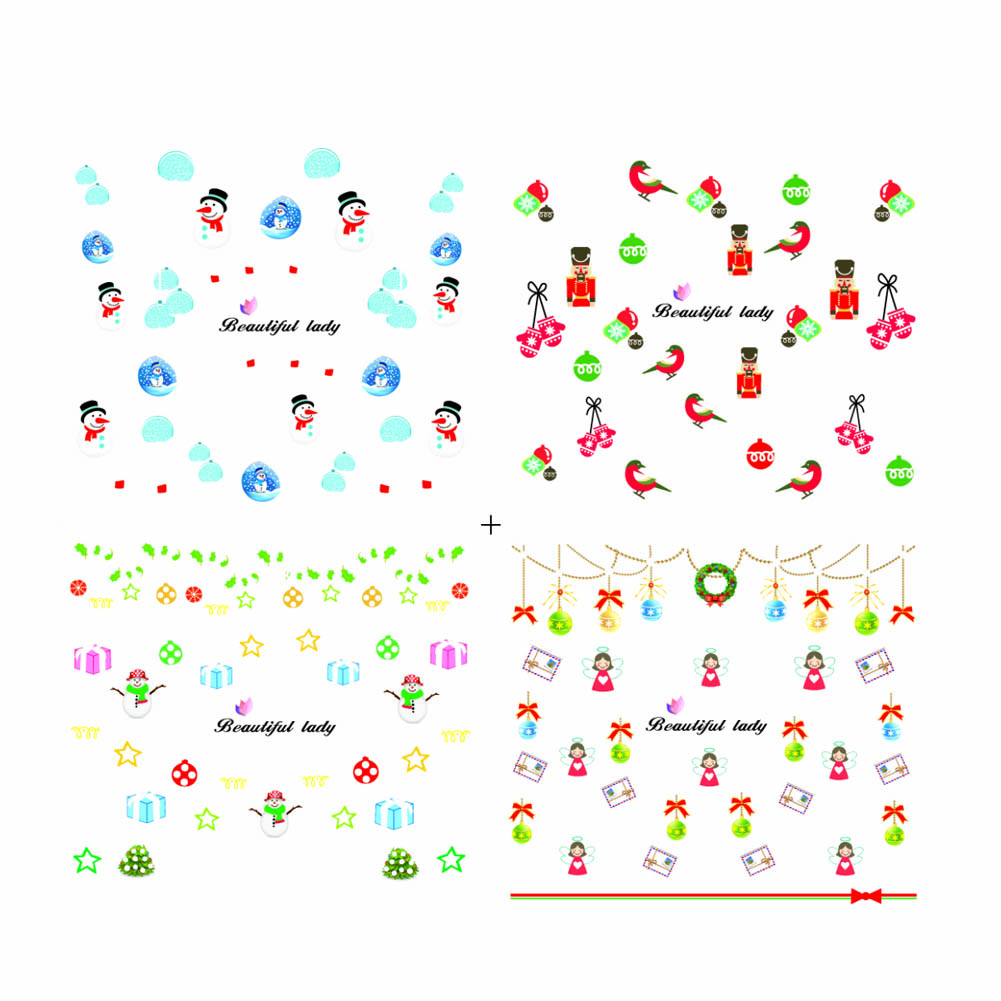 Popular luminous stickers Xmas Christmas Nail Art Water Decals Snowflake Snowman Illuminated Transfer Stickers