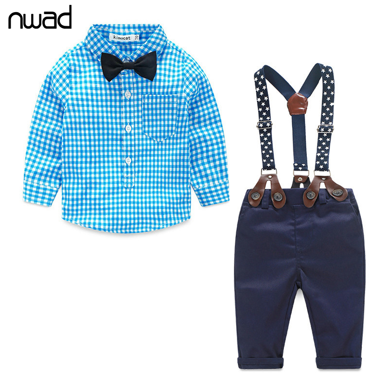 Baby Boy Clothes 2016 Spring New Brand Gentleman Plaid Clothing Suit For Newborn Baby Bow Tie Shirt + Suspender Trousers FF032