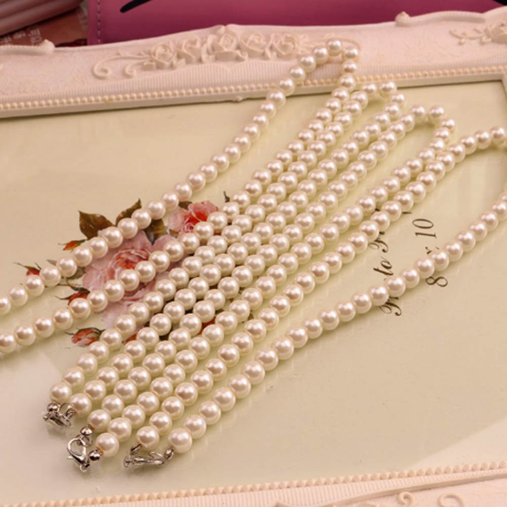 White Imitation Freshwater Pearl Necklace For Women 40cm Clas