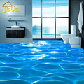 Foto de encargo piso wallpaper 3d ondas de agua de mar hotel baño mural pvc papel pintado auto-adhesivo impermeable del papel pintado planta