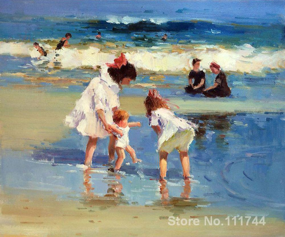 Children Playing at the Seashore Art hand painted Edward Henry Potthast seascape oil paintings on canvas for home decor