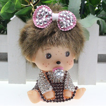 Cute Bowknot Monchichi Keychain Rhinestone Monchhichi Sleutelhanger Crystal Keychain Car Key Chain Women Key Holder Ring Bague