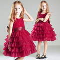 Girls Dresses sleeveless o-neck summer spring Kids Dress Girls Clothes Robe red white pink party Costumes for Children quality o