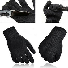 1 Pair Black Protect Stainless Steel Wire Safety Cut Metal Mesh Butcher Gloves
