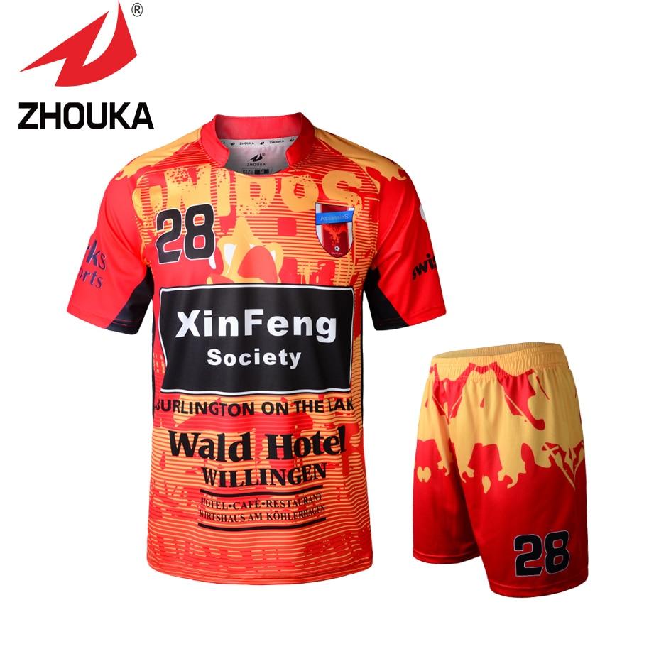 ФОТО Hot sale Top quality 2016 Zhouka full sublimation men sportswear football Uniform Set